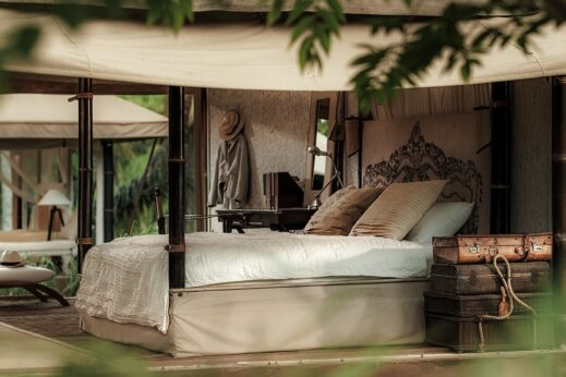 The Beige bedroom - glamping in Cambodia